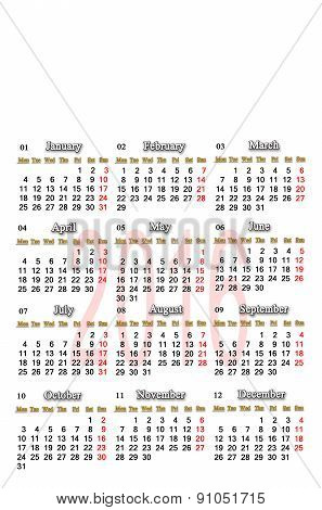 Calendar For 2016 In English With Place Of Picture