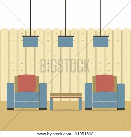 Empty Two Sofas With Ceiling Lamps.