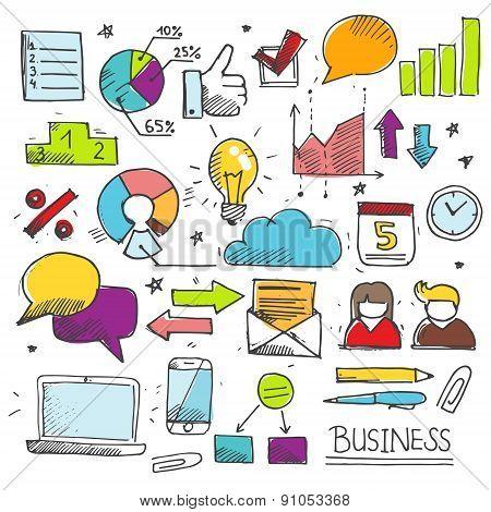 Colorful Business Doodle Set