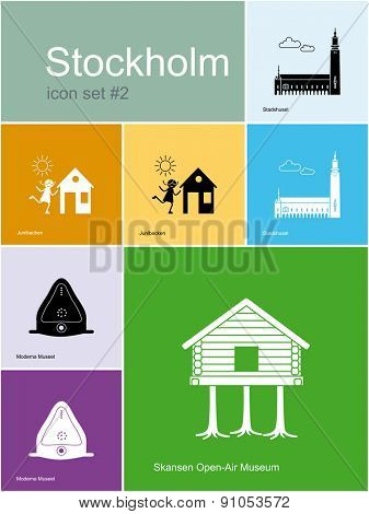 Landmarks of Stockholm. Set of color icons in Metro style. Raster illustration.