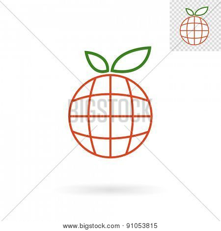 Modern abstract globe sign in an apple shape for logos, banners, layouts, corporate  brochures, templates and internet web sites. Vector eps10 illustration
