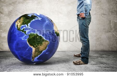 3d image of world globe and man