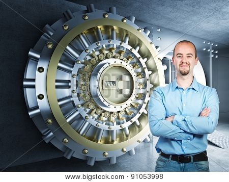 confident man and 3d bank vault background