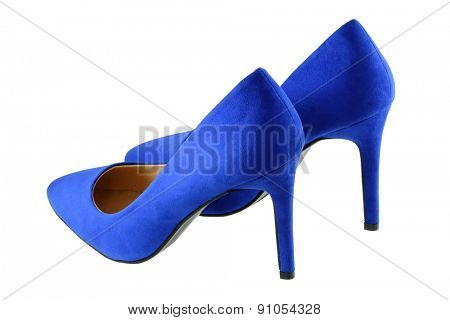A pair of Blue high heels isolated on white background