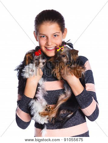 Girl with Yorkshire terrier