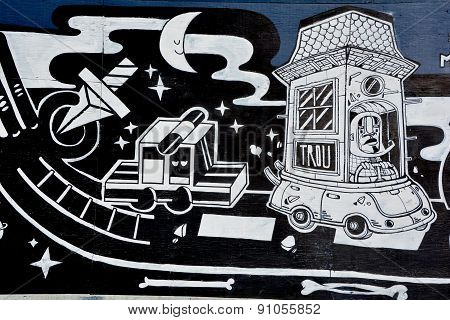 Street art funny cars