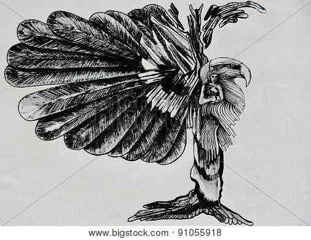 Street art eagle woman