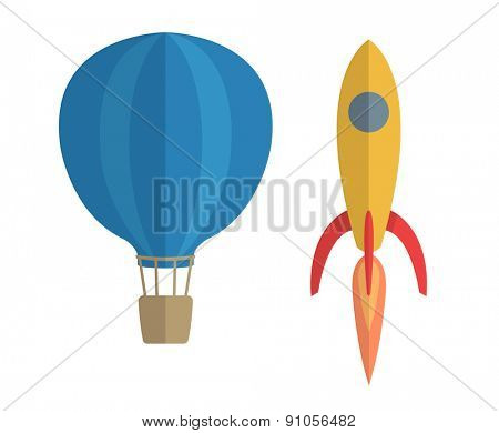 Vector illustration of air balloon and rocket, progress concept