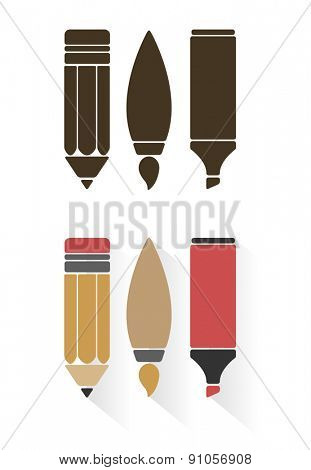 Vector sets of art tools or office supplies in flat style isolated on white background