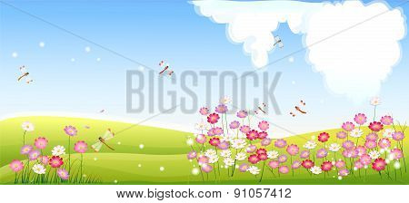 Spring landscape with flower and dragonfly