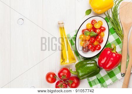 Fresh colorful vegetables on white wooden table. Top view with copy space