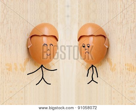 Two Happy Friend With Painted Egg