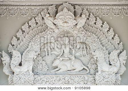 Thai Style Molding Art At Temple Window