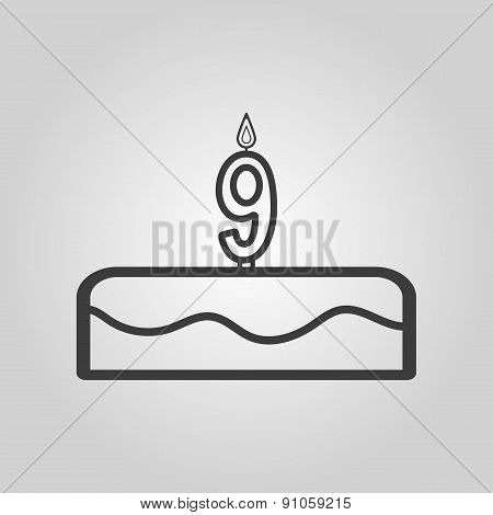 Cake With Candles In The Form Of Number 9 Icon