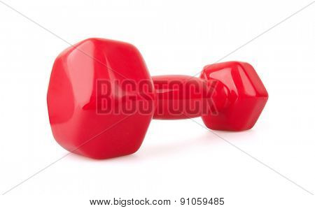 Red dumbbell, Isolated on white background