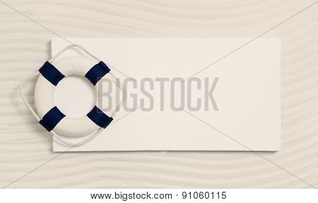 Nautical sign with a live-saver. Maritime summer decoration for cruising.