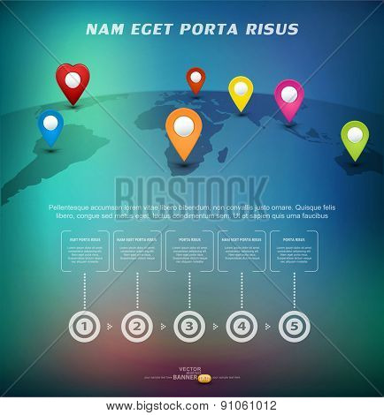 Vector background for business with pointers on the world map with elements Infographic