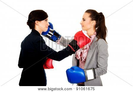 Two beautiful business women with boxing gloves fighting.