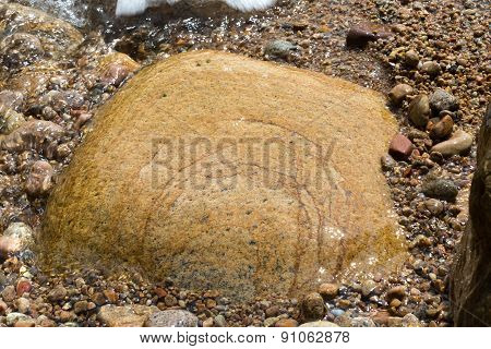 Flooded Stone With Foam And Water Bubbles, Texture.
