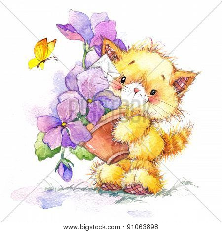Funny kitten. decor for kid Birthday background for holiday. wat
