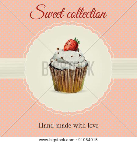 Hand-made desserts flyer template with watercolor cupcake illustration