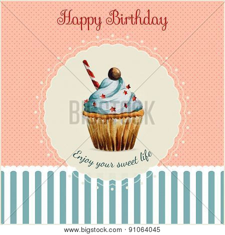 Birthday greeting card template with watercolor cupcake illustration