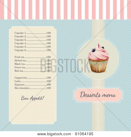 Confectionery menu template with watercolor cupcake illustration