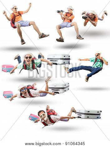 Mixed Acting Of Floating Man Action Isolated White Background Traveling And Leisure Activities Theme