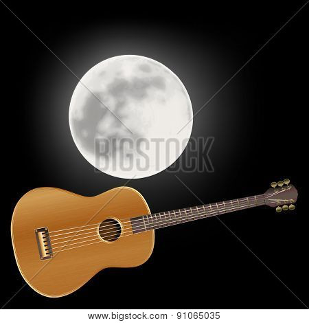 Acoustic Guitar In The Background Of The Moon