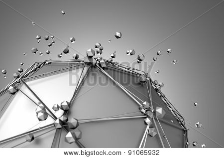 Abstract 3d rendering of low poly metal sphere with chaotic structure.