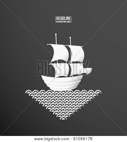 Paper cutout. Ship