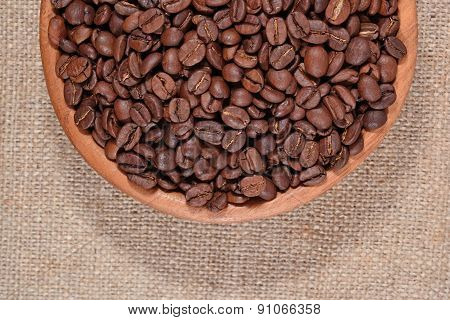 Coffee Beans In A Wooden Bowl