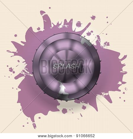 Metallic Button Splattered With Paint