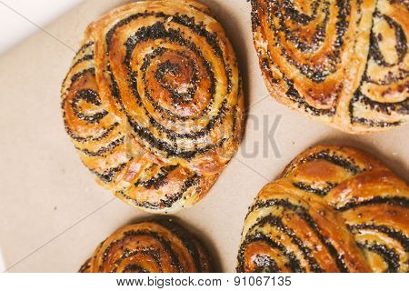 Bakery. Delicious buns on the table