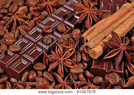 Coffee, Chocolate, Star Anise And Cinnamon Sticks