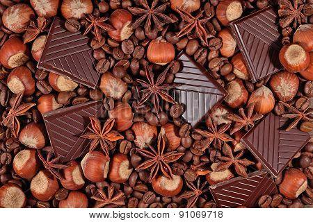Coffee, Chocolate, Star Anise And Hazelnuts