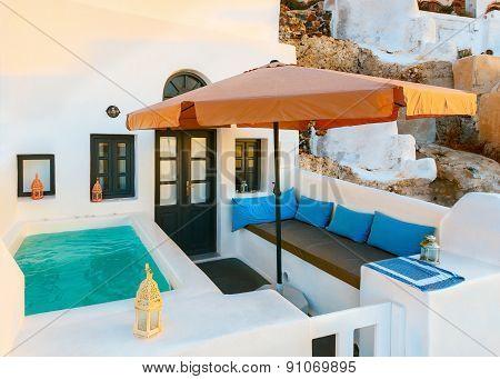 Santorini Oia. patio with swimming pool
