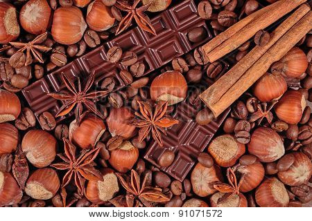Coffee, Chocolate, Star Anise, Hazelnuts And Cinnamon Sticks