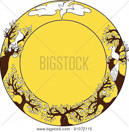 Ornamental round frame with apple trees and birds