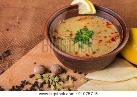 Fragrant, delicious soup in a bowl
