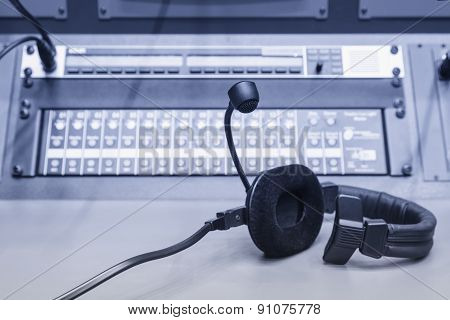 Headphone With Music Mixer Control Desk In Studio