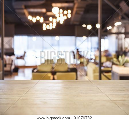 Table top counter Bar with Blurred Cafe Restaurant background