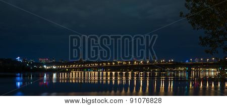 Night panorama  over the Dnieper.