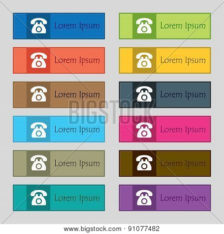 Retro Telephone Icon Sign. Set Of Twelve Rectangular, Colorful, Buttons