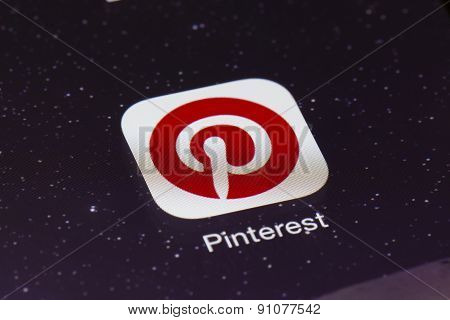 Close-up of Pinterest app on an iPad