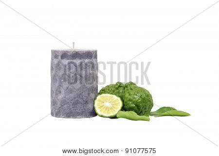 Candle Bergamot Kaffir Lime Leaves Herb Fresh Isolated