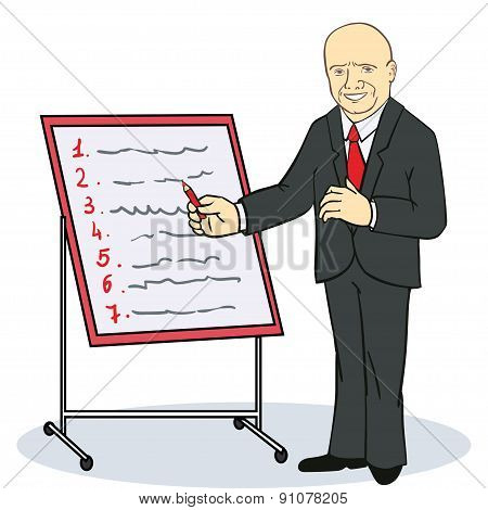 Mature businessman writing on a wall planner