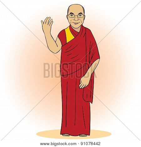 Cartoon figure of buddhist monk. Vector illustration