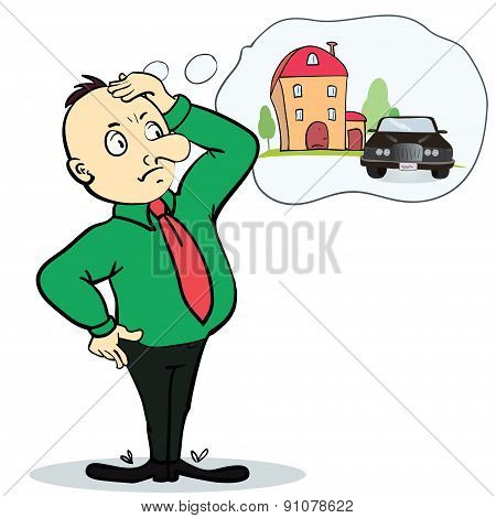 Man dreaming house and car. Concept for credit or mortgage.