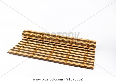 Bamboo Cooking Mat Isolated